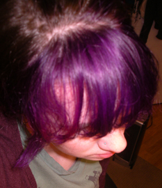 T He First Is My Bangs With Deep Purple Special Effects Immediately After Dying Over Bleached Hair The Second About A Month And You Can See